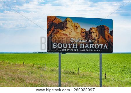 Herreid, Sd - July 9, 2018: South Dakota Welcome Highway Sign Along The State Border Of North Dakota