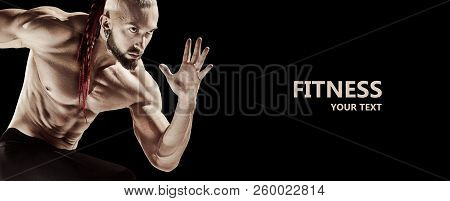 The Fit Man Doing Weight Lifting In Gym On Black Background. The Fitness, Training, Sport, Workout,
