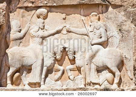 The Investiture of Ardashir firs - Bas-relief from Naqsh-e Rostam, Tomb of Persian Kings, Iran poster