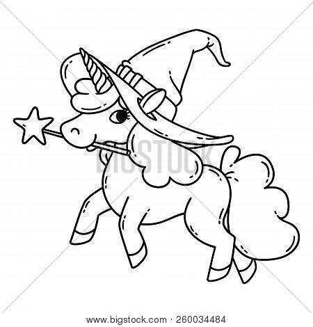 Halloween unicorn with magic wand and witch hat. Cute doodle art of magic creature. Vector illustration isolated on white background. Black and white vector illustration for coloring book. poster
