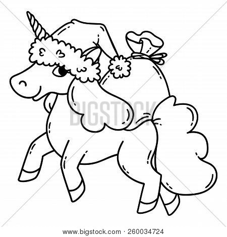 Christmas unicorn with a santa hat and a bag of gifts. Cute doodle art of magic creature. Black and white vector illustration for coloring book. Vector illustration isolated on white background. poster