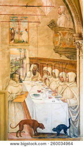 Fresco In Monte Oliveto Maggiore - Supper In A Monastery