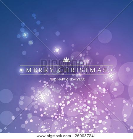 Colorful Happy Holidays, Merry Christmas Greeting Card With Label, Christmas Tree On A Sparkling Blu