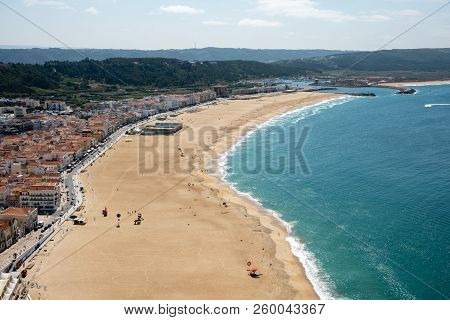 Nazare, Portugal - September 20, 2018 : From The High Point Of The Nazare We Can See The Beach The S