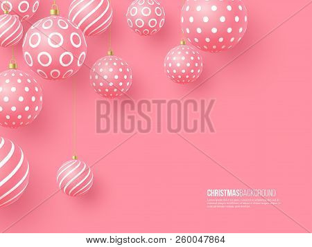 Christmas Pink Baubles With Geometric Pattern. 3d Realistic Style, Abstract Holiday Background, Vect