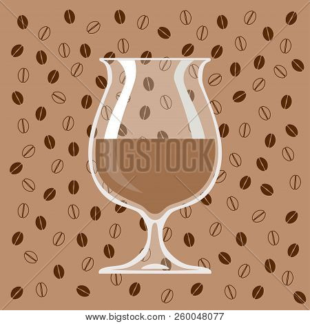 Glass Of Coffee Liqueur On Background Of Coffee Beans