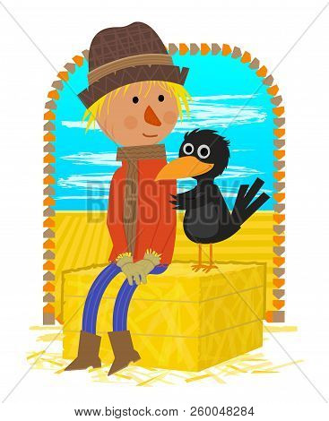 Cute Clipart Of A Scarecrow And A Crow Sitting On A Haystack. Eps10