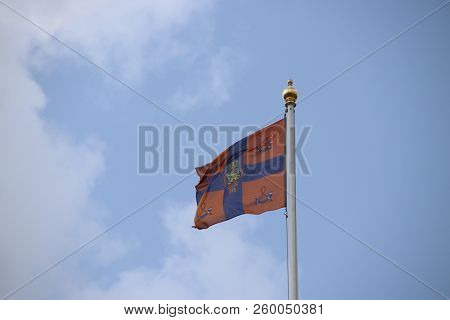 Flag Of King Willem-alexander Is Waving In The Wind On The Noordeinde Palace In The Hague, The Nethe