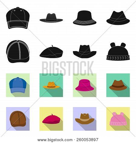 Isolated Object Of Headgear And Cap Logo. Collection Of Headgear And Accessory Stock Vector Illustra