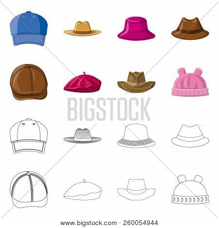Vector Illustration Of Headgear And Cap Symbol. Set Of Headgear And Accessory Stock Vector Illustrat