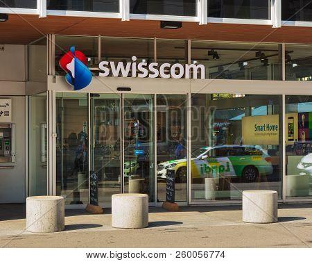 Winterthur, Switzerland - September 19, 2018: Entrance To A Store Of The Swisscom. The Swisscom Ag C