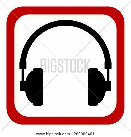 Prohibition sign headphones on white background. Vector illustration. poster