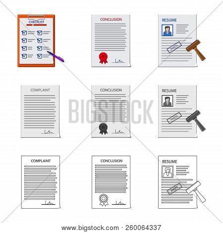 Vector Design Of Form And Document Sign. Collection Of Form And Mark Stock Vector Illustration.