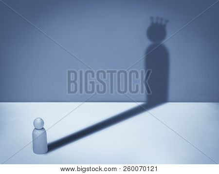 Man With Crown Shadow. Business Symbol Of Ambition, Success, Motivation, Leadership