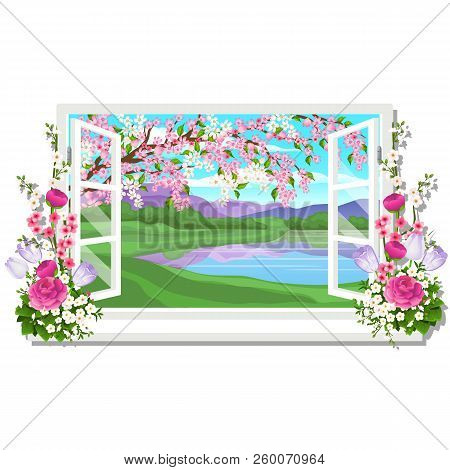 The Wooden Window Overlooking The Meadow Of Green Grass And Pond In Spring Isolated On White Backgro
