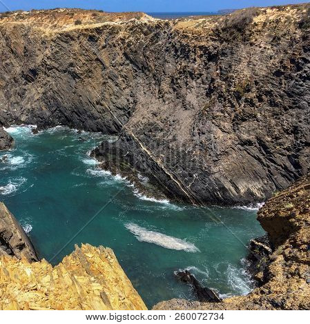 View Of The Sea, Sea Cliffs, Steep Cliffs, Hot Sunny Day, Clear Blue Sky, Waters Of The Atlantic Oce