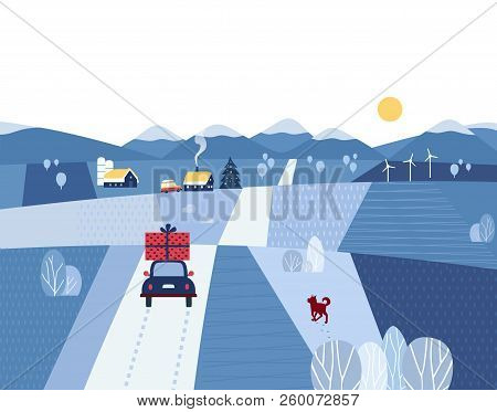 Winter Valley Landscape. Comic Outdoor Cartoon. Minimal Simple Style. Winter Christmas Holiday Celeb