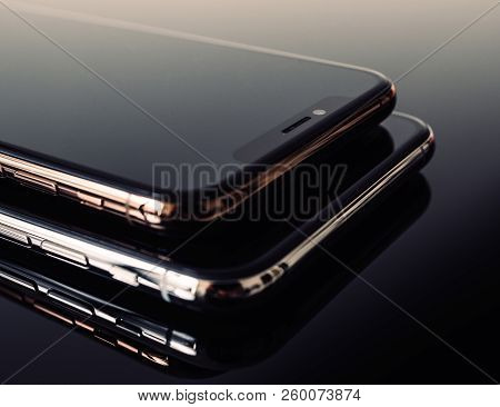 Paris, France - Sep 25, 2018: One Above Another Iphone Xs And Xs Max Smartphone Model By Apple Compu