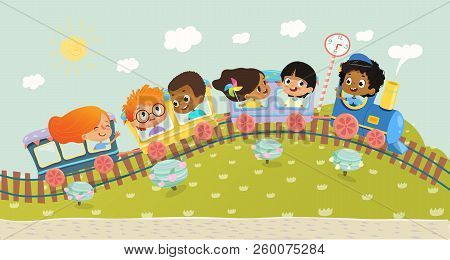 Illustration Of The Multiracial Kids Having Trip On A Train. School Kids Boys And Girls Laughing And
