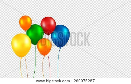 Balloons Vector. Realistic Flying Birthday Helium Balloons. Isolated On Transparent Background. Part
