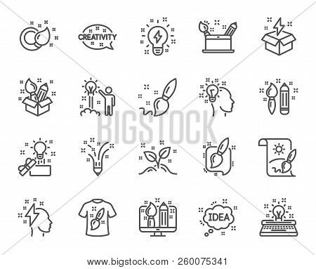 Creativity Line Icons. Set Of Design, Idea And Inspiration Linear Icons. Imagination, Idea Box And C