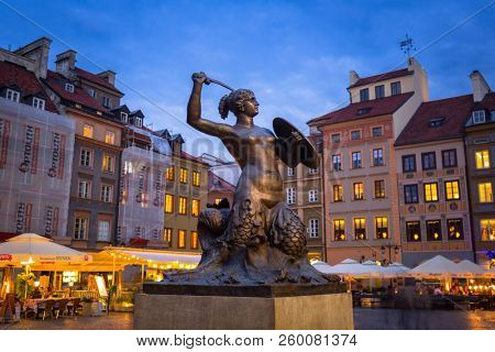 Warsaw, Poland - September 5, 2018: Statue of mermaid in Warsaw old town, Poland. The Mermaid is a symbol of Warsaw, the capital of Poland.