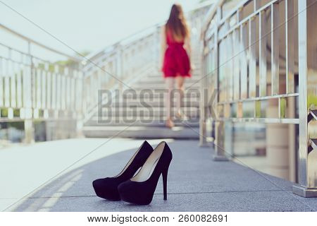Date parting uncomfortable shoes ache camp spasm unhealthy people person stand concept. Close up photo of pretty lovely beautiful attractive lady going up to the top, stylish trendy modern shoes poster