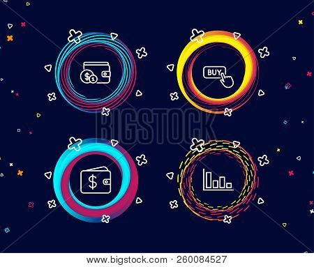 Set Of Buying Accessory, Buy Button And Dollar Wallet Icons. Histogram Sign. Wallet With Coins, Onli