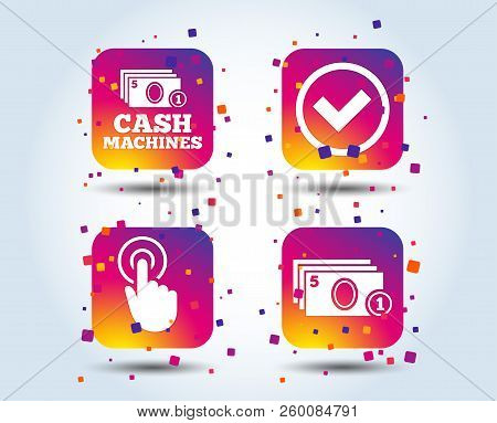 Atm Cash Machine Withdrawal Icons. Click Here, Check Pin Number, Processing And Cash Withdrawal Symb
