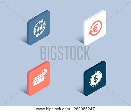 Set Of Exchange Currency, Cashback And Update Data Icons. Dollar Target Sign. Reshresh Exchange Rate