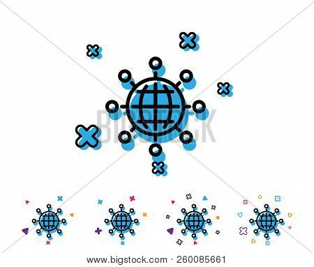 Business Networking Line Icon. International Work Symbol. Global Communication Sign. Line Icon With