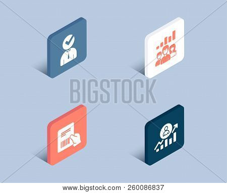 Set Of Vacancy, Teamwork Results And Parcel Invoice Icons. Career Ladder Sign. Businessman Concept,