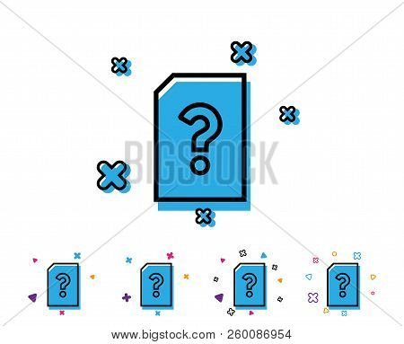 Unknown Document Line Icon. File With Question Mark Sign. Untitled Paper Page Concept Symbol. Line I