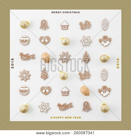 CHRISTMAS AND NEW YEAR 2019 SQUARE CARD, CHRISTMAS DECORATION COMPOSITION, TOP VIEW, BELLS, ANGELS, BALLS, NUTS, CHRISTMAS TREE, CHRISTMAS BACKGROUND MODERN, FLAT , IMAGE