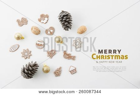 CHRISTMAS AND NEW YEAR SQUARE CARD, CHRISTMAS DECORATION COMPOSITION, TOP VIEW, BELLS, ANGELS, BALLS, NUTS, CHRISTMAS TREE, CHRISTMAS BACKGROUND MODERN, FLAT , IMAGE