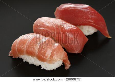 three types of tuna sushi , japanese food poster