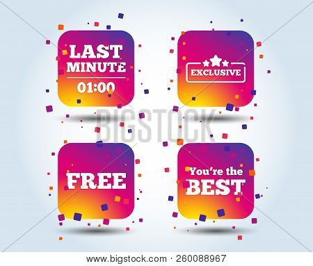 Last Minute Icon. Exclusive Special Offer With Star Symbols. You Are The Best Sign. Free Of Charge.