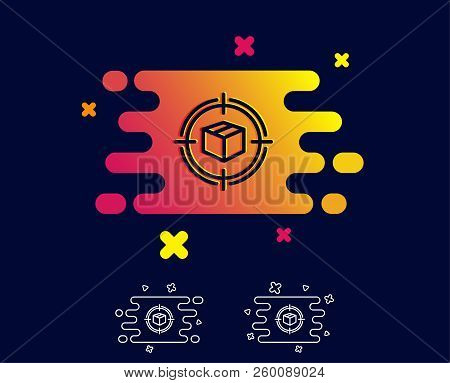 Parcel Tracking Line Icon. Delivery Monitoring Sign. Shipping Box In Target Symbol. Gradient Banner