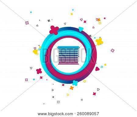 Louvers Sign Icon. Window Blinds Or Jalousie Symbol. Colorful Button With Icon. Geometric Elements.