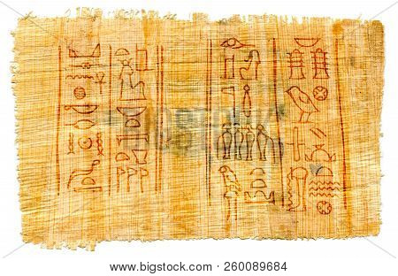 Ancient Papyrus With Egyptian Hieroglyphs: The Names Of The Goddess Of Isis (left) And The God Of Th