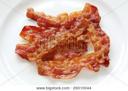 close up of fried crispy bacon