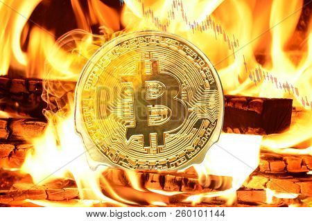 Bitcoin Buring In Bonfire, Price Value Going Down  Concept Photo