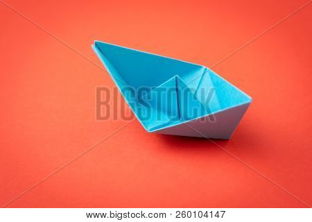 Red Ocean Business Competition, Survive Success Or Winner Company Metaphor Concept, Blue Origami Pap