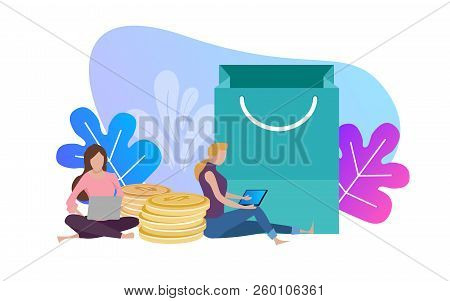 Woman With Laptop And Shopping Bags, Online Commerce Payment Conceptual Vector. Casual Enjoy From Ho