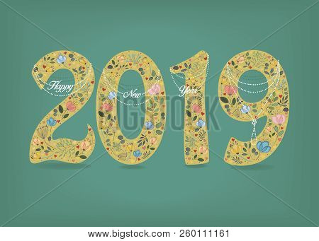 happy new year 2019 yellow artistic number with floral folk decor watercolor flowers and hearts country style white pearl collars with texts as