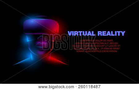 3d Neon Female Face With Virtual Reality Glasses. Girl And Virtual Reality Technology Banner.
