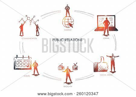 Public Relations - Communication, Jornal, Radio And Tv, Social Media, Events Set Concept. Hand Drawn