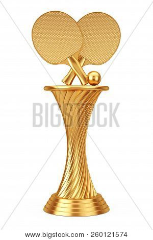 Tennis Award Concept. Golden Award Trophy Ping-pong Tennis Rackets And Ball On A White Background. 3