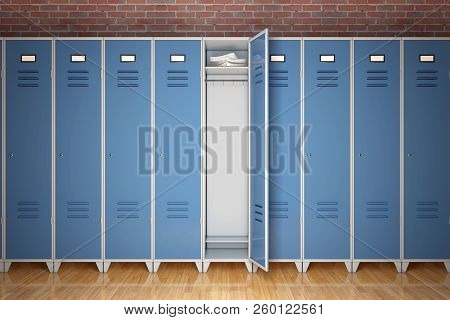 Row Of Metal Gym Lockers In Front Of Brick Wall Extreme Closeup. 3d Rendering