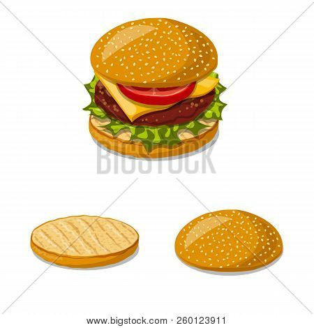 Vector Illustration Of Burger And Sandwich Sign. Collection Of Burger And Slice Stock Vector Illustr